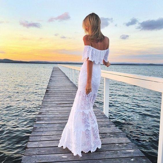 Off Shoulder Lace Mermaid Long Beach Dress