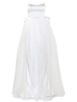 burda style - Schnittmuster Hochzeitskleid - Schulterfreies Korsagenkleid mit weitem Tüllrock und großer Schleife