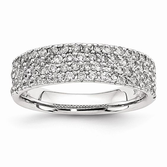 14k White Gold Fancy Diamond Ring Anniversary – Goldia.com