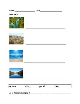 BODIES OF WATER WORKSHEET SET - TeachersPayTeachers.com ...