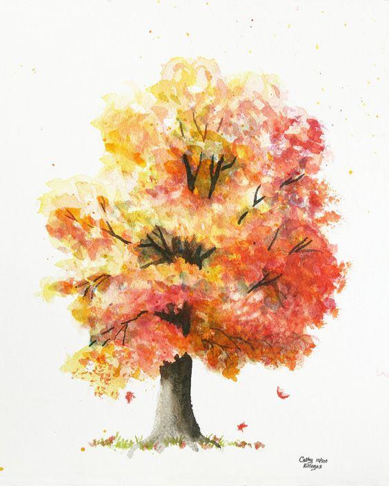 Arbres en aquarelle arbres d 39 automne and peinture for Pinterest aquarell