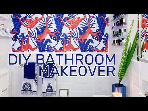 Diy Rental Bathroom Makeover Removable Wallpaper Marble Contact Paper Tutorial Youtube Rental Bathroom Makeover Bathroom Makeover Diy Bathroom Makeover