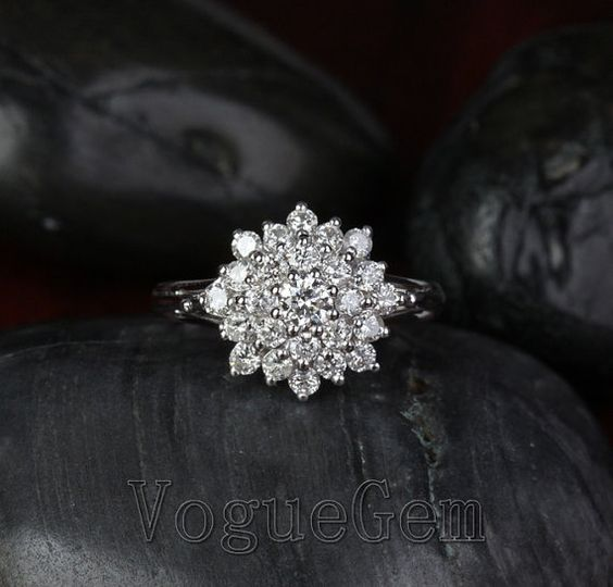 VogueGem Solid 14K White Gold Cluster Flower .88ct H/SI Diamond Engagement Wedding Ring                                                                                                                                                      More