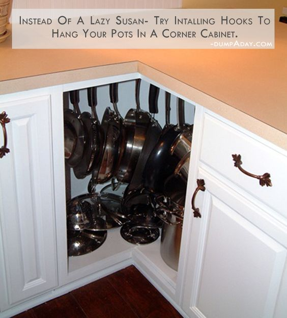 Get Creative With These Corner Kitchen Cabinet Ideas: Corner Cabinets, Pots And Lazy Susan On Pinterest