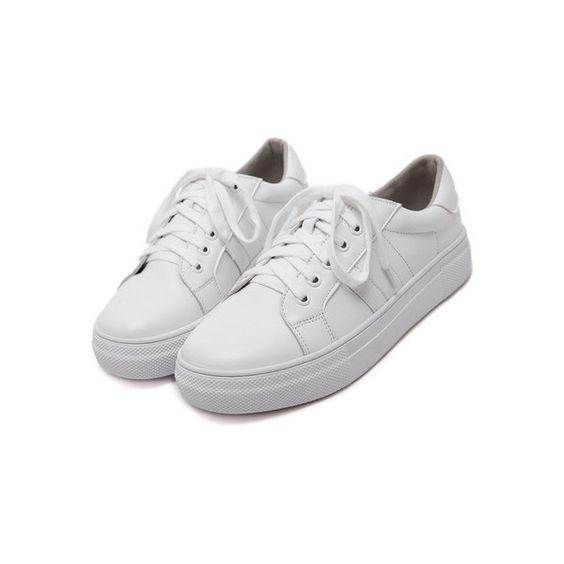 White Round Toe Lace-up Flats ($30) ❤ liked on Polyvore featuring shoes, flats, lace up flat shoes, laced flats, flat pumps, round toe flats and round cap