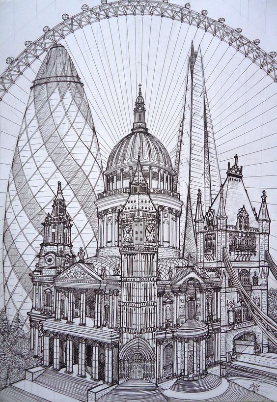 Line Drawing Tattoo London : London cucumber st paul s big ben tower of the