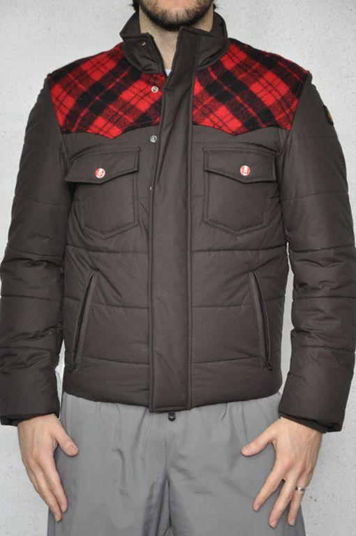 Refrigiwear, giubbotto marrone con dettagli in lana sulle spalle a scacco rosso e nero