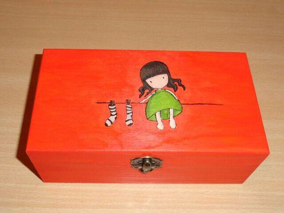 Caja de madera pintada a mano cajitas pinterest diy - Cajas de madera pintadas a mano ...