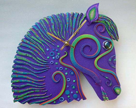 Whimsical Horse Clock or Wall Art Sculpture in by MysticDreamerArt