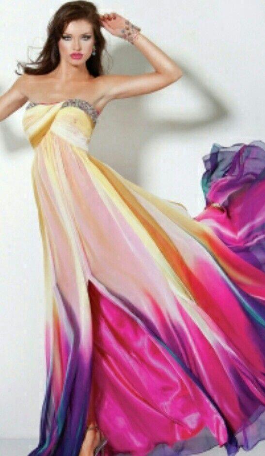 Multi colored prom dress - Prom - Pinterest - Prom dresses ...