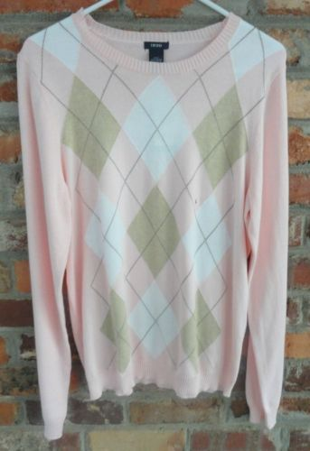 $24.95 OBO New Women's IZOD Argyle Multi-Colored Long Sleeve V Neck Sweater Size: Large Free Shipping