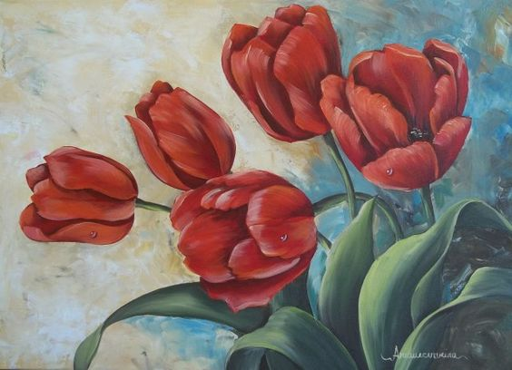 tela óleo tulipas vermelhas - Pesquisa Google