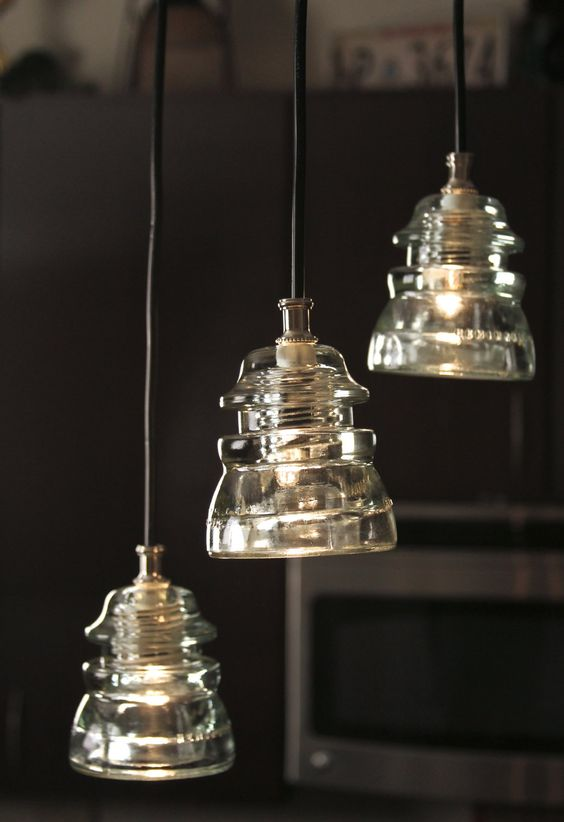 Glass insulators kitchen sinks and glasses on pinterest for Insulator pendant light
