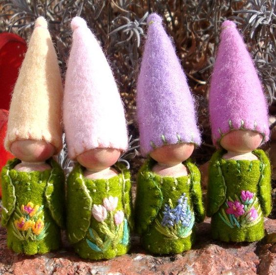 Reserved for Carina123 Two Spring Flower Gnomes by paintingpixie