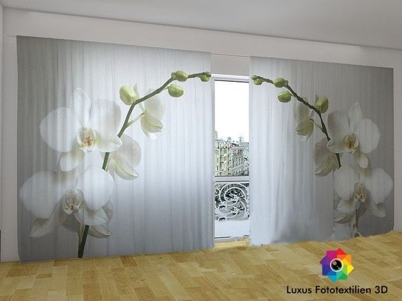fotogardinen vorh nge in luxus fotodruck 3d orchidee 2. Black Bedroom Furniture Sets. Home Design Ideas