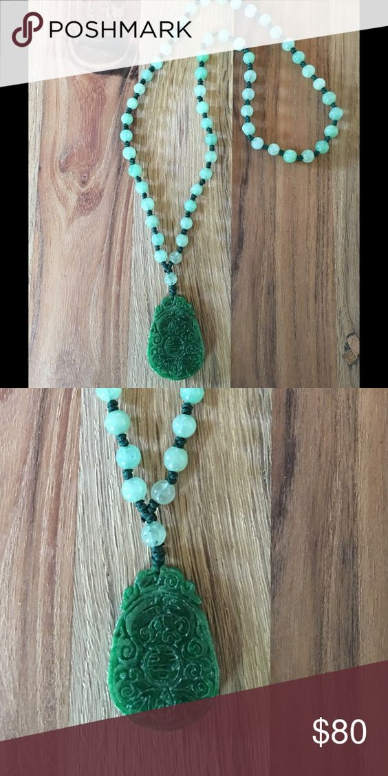 Jade Pendant necklace Jade pendant with green beads Jewelry Necklaces