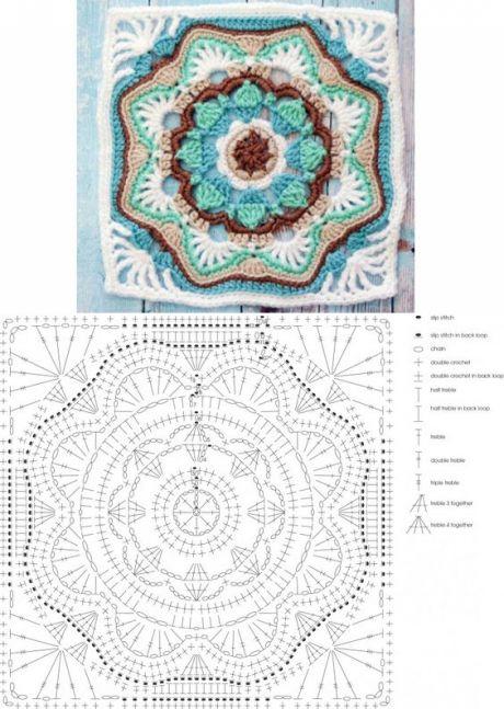 Голубой квадратный мотив. Схема | ВЯЗАНИЕ МОТИВЫ КРЮЧОК | Постила