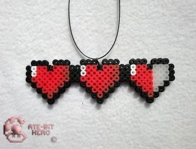 Wish | Legend of Zelda Health Life Hearts Necklace Bead Sprite Perler Art: