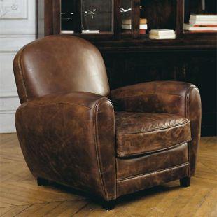 Fauteuil club vintage marron: