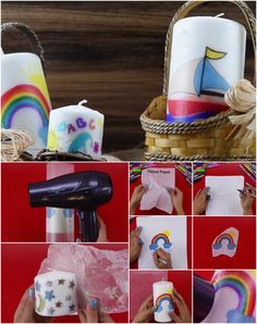 Creative diy idea! How to transfer pictures from tissue paper onto a candle with…