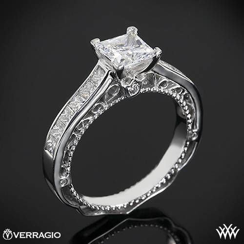 This Diamond Engagement Ring is from the Verragio Venetian Collection. It features 0.70ctw of Round Brilliant and Princess Diamond Melee (F/G VS) that enhance a princess diamond center of your choice. The width of this ring is 2.9mm. Select your diamond from our extensive online diamond inventory. Please allow 4 weeks for completion. Platinum rings carry a 5 week turnaround time. If you have any questions regarding this item then please contact one of our friendly diamond and jewelry ...
