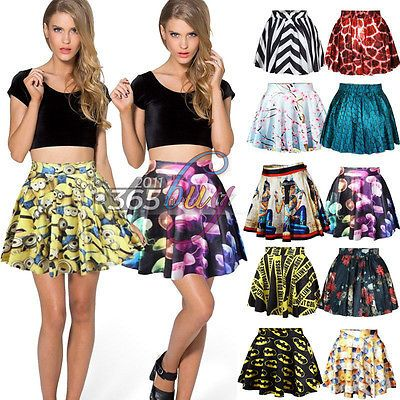 Fashion Women's High Waist Pleated 3D Print Short Mini Skirt Skater Flared Dress in Clothing, Shoes & Accessories,Women's Clothing,Skirts | eBay