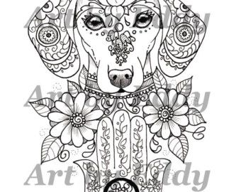 Art of Dachshund Coloring Book Physical Book by ArtByEddy on Etsy