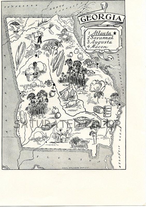 Georgia Map A Delightfully Amusing ORIGINAL Vintage Map S - Georgia map please