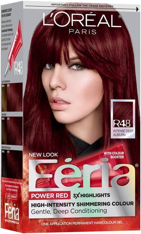 Loreal Paris Feria Permanent Hair Color Intense Deep Auburn Red Velvet R48 Tonos Rojos Para Cabello Cabello Corto Y Rojo Color De Cabello Rojo