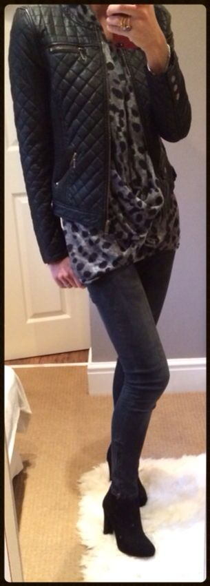 Faux leather quilted jacket with a draped leopard print top