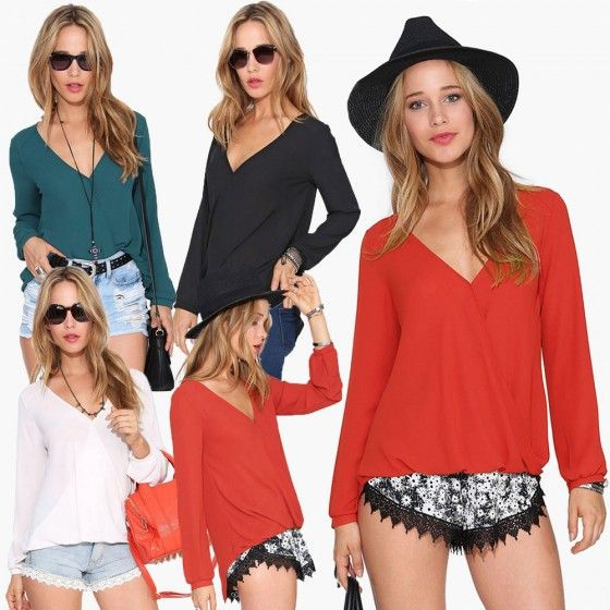 New Fashion Women Chiffon Blouse Sexy V Neck Wrap Front Long Sleeve Casual Shirt Tops