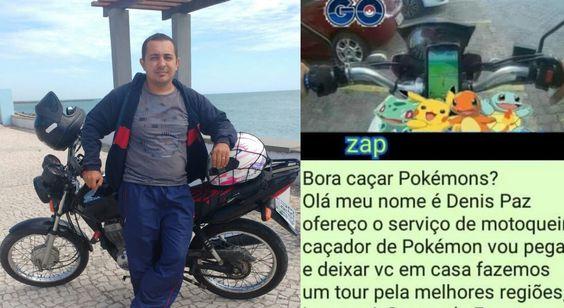 moto boy oferece servico para cacar pokemons