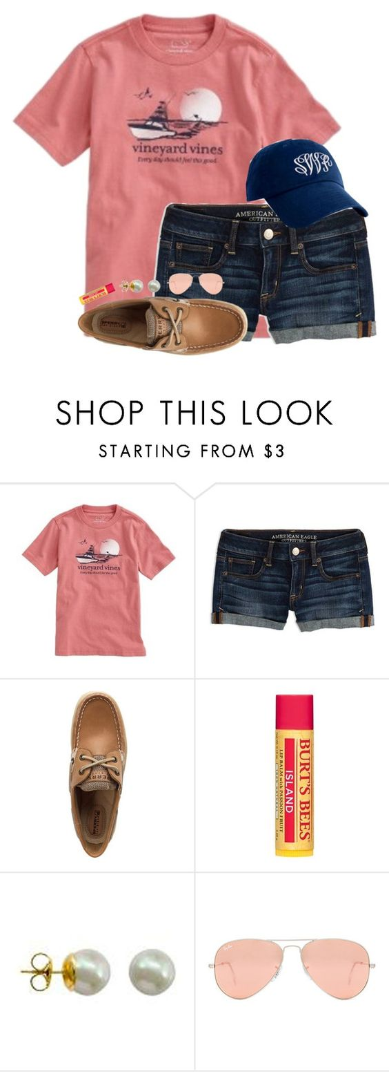 """""""50 likes??? Y'all can do it"""" by hgw8503 ❤ liked on Polyvore featuring Vineyard Vines, American Eagle Outfitters, Sperry, Burt's Bees, Majorica and Ray-Ban"""