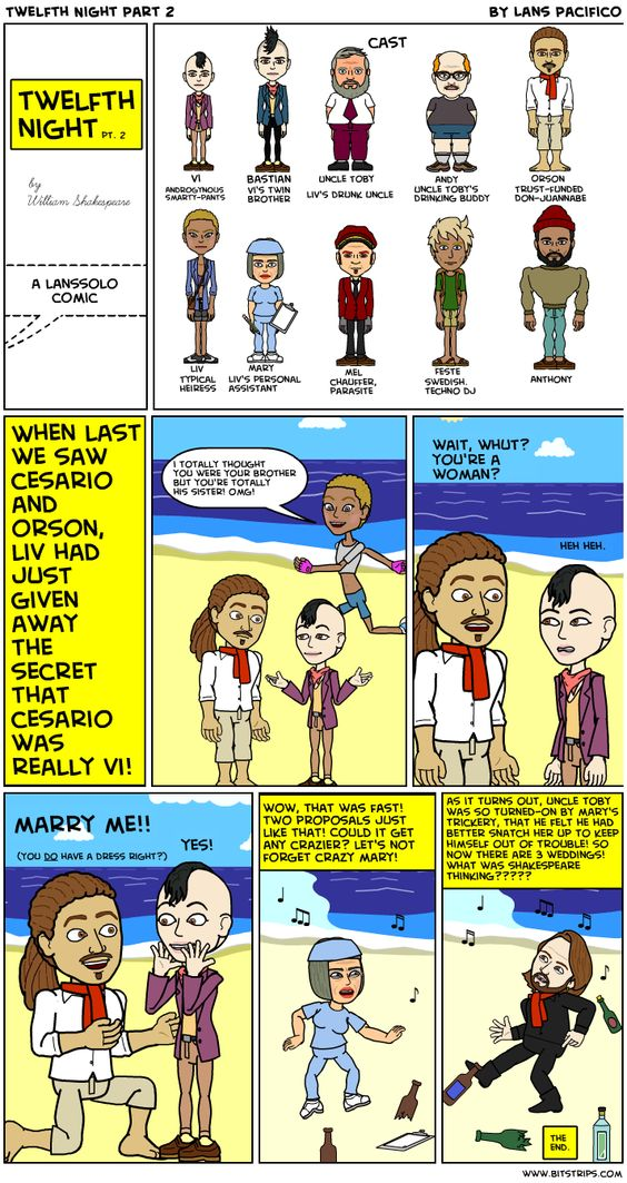 Winter 2013 cohort member Lans's awesome Bitstrip on Twelfth Night (part 2 of 2).