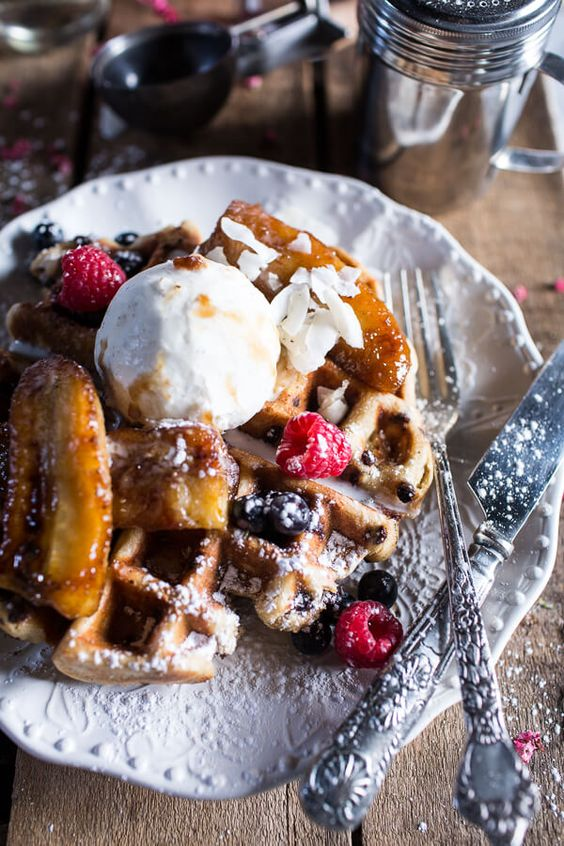 ... Chocolate Chip Waffles | Caramelized Bananas, Belgian Chocolate and