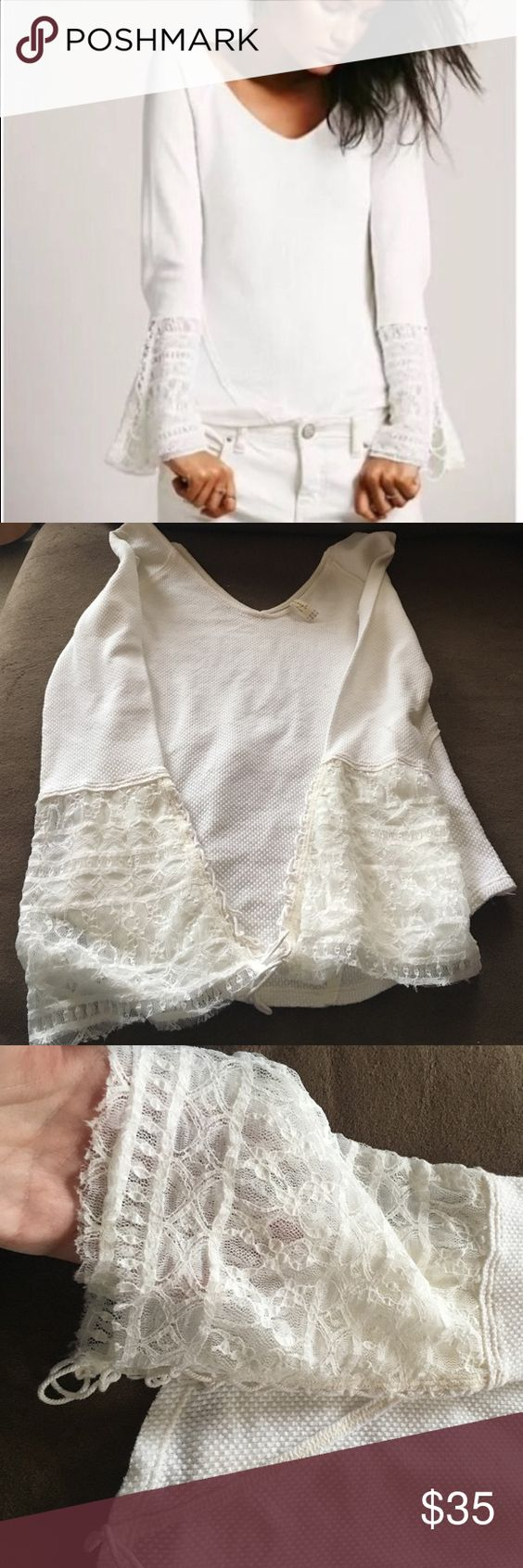 💕Free People top! ❤️Free People Top! Perfect condition! No stains, holes, or odor! I bought from another posher. I never wore it because it's more of an ivory color and I was looking for bright white! Very cute top though! Free People Tops