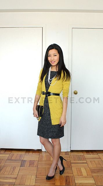 styling a cardigan and a sleeveless sheath (which I have so many of, but am never quite sure how to wear. This is IT!