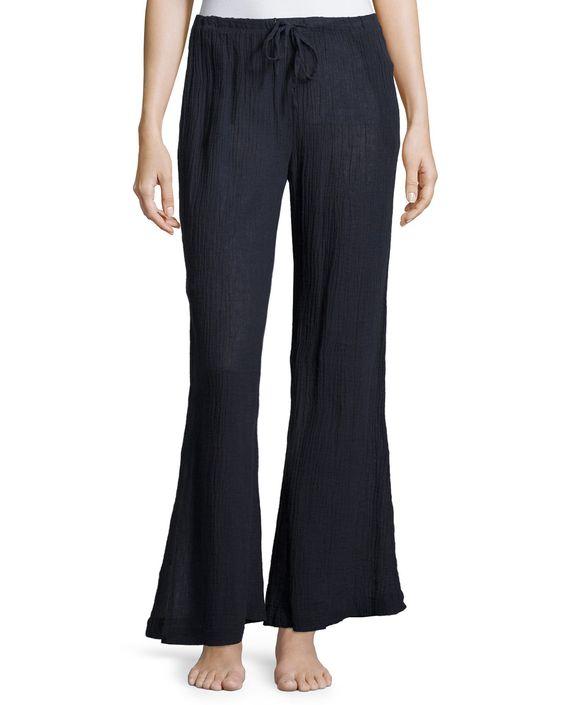Palazzo Wide-Leg Lounge Pants, Midnight (Black), Women's, Size: L/3 - Skin