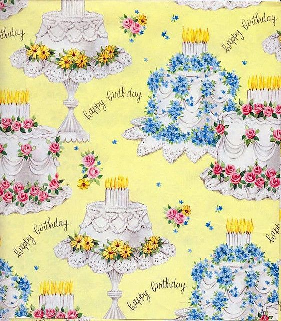 Vintage giftwrap - birthday cakes by cluttershop, via Flickr