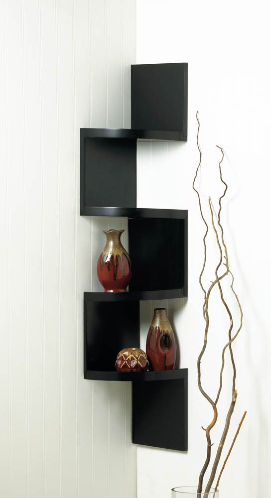 This Incredible Zig Zag Design Black Shelf Will Take Any Empty Corner Of Your Room And Transform It Into A Showcase O Black Corner Shelf Corner Shelves Shelves