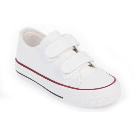 ANDY-Z  14€ Zapatillas de lona blancas niño A8829-white/velcro