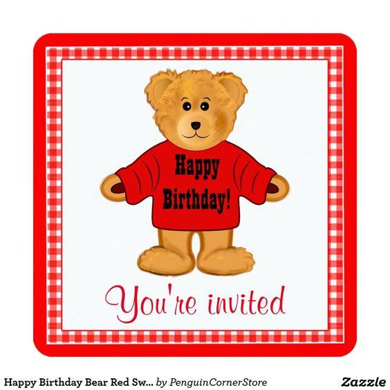 Happy Birthday Bear Red Sweater Party Invite