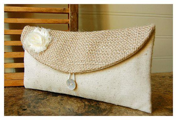 clutch burlap lace wedding rustic raw cotton shabby by hoganfe, 19.00