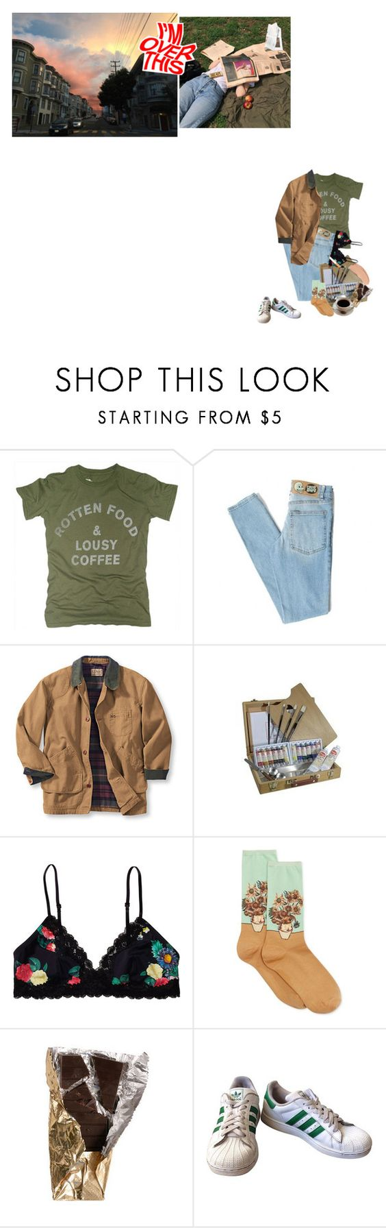 """coffee should fix that!"" by foolish-luna ❤ liked on Polyvore featuring Worn Free, Cheap Monday, Monki, Forum, HOT SOX, adidas, Yves Saint Laurent and vintage"