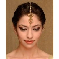 Delicate Golden Maang Tikka with Crystals