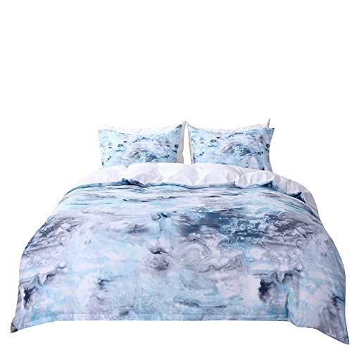 Onlyway Blue Marble Duvet Cover Set Blue White And Gray Modern Pattern Printed Soft Microfiber Bedding Marble Duvet Cover Duvet Cover Sets Microfiber Bedding
