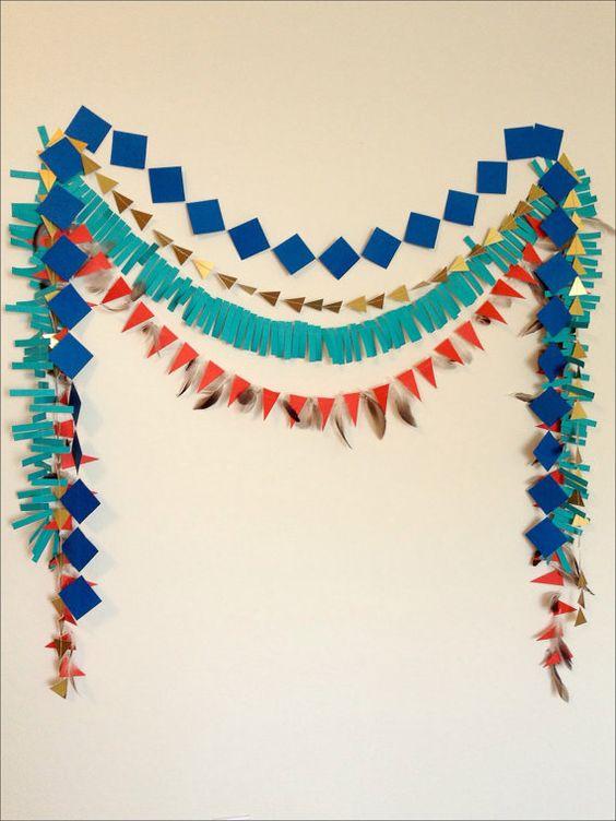 Geometric Paper Garland, Cowboys & Indians, Pow Wow Party, Tribal Theme, Photo Backdrop, Table Backdrop
