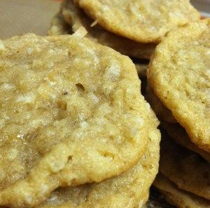 Brown Sugar Oatmeal coconut cookies  1 cup butter, slightly softened  1 1/4 cup brown sugar, packed  3/4 cup sugar  2 tsp vanilla extract  2 eggs  1 tsp baking soda  1 tsp baking powder  1/2 tsp salt  2 1/4 cups all purpose flour  1 cup quick cooking oats  1 1/2 cup shredded coconut