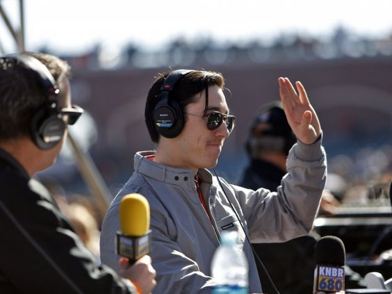 Giants starting pitcher, Tim Lincecum waves to the fans as he takes the stage with Brian Murphy, left, and Paul Macaffrey (out of frame) for the KNBR live broadcast of Giants Fanfest on Saturday. San Francisco Giants fans were treated to a day with their favorite players during Fanfest at AT&T Park in San Francisco, Calif., on Saturday, February 1, 2014.