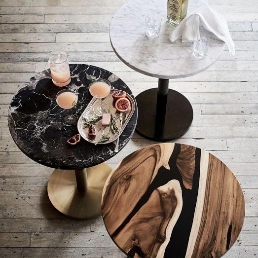 Black Marble Round Bistro Table Small West Elm Comedorespequenos Mesas De Comedor De Marmol Mesa De Bistro Mesas Con Marmol